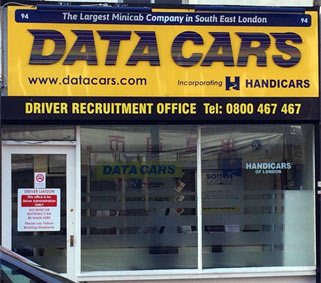Photograph showing the Data Cars office. 92-94 Lee High Road, Lewisham, London, SE13 5PT